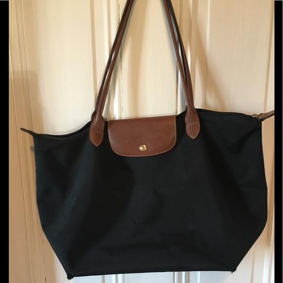 "Longchamp Handbags - Le Pliage Large Black Tote With 9.5"" Handles 3f87ec8ebcc80"